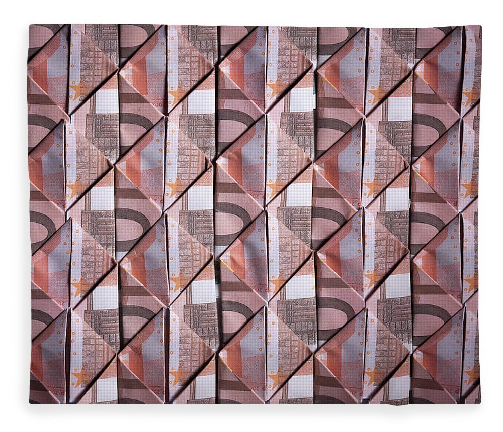Shadow Fleece Blanket featuring the photograph Ten Euro Banknotes Folded Into Diamond by Larry Washburn