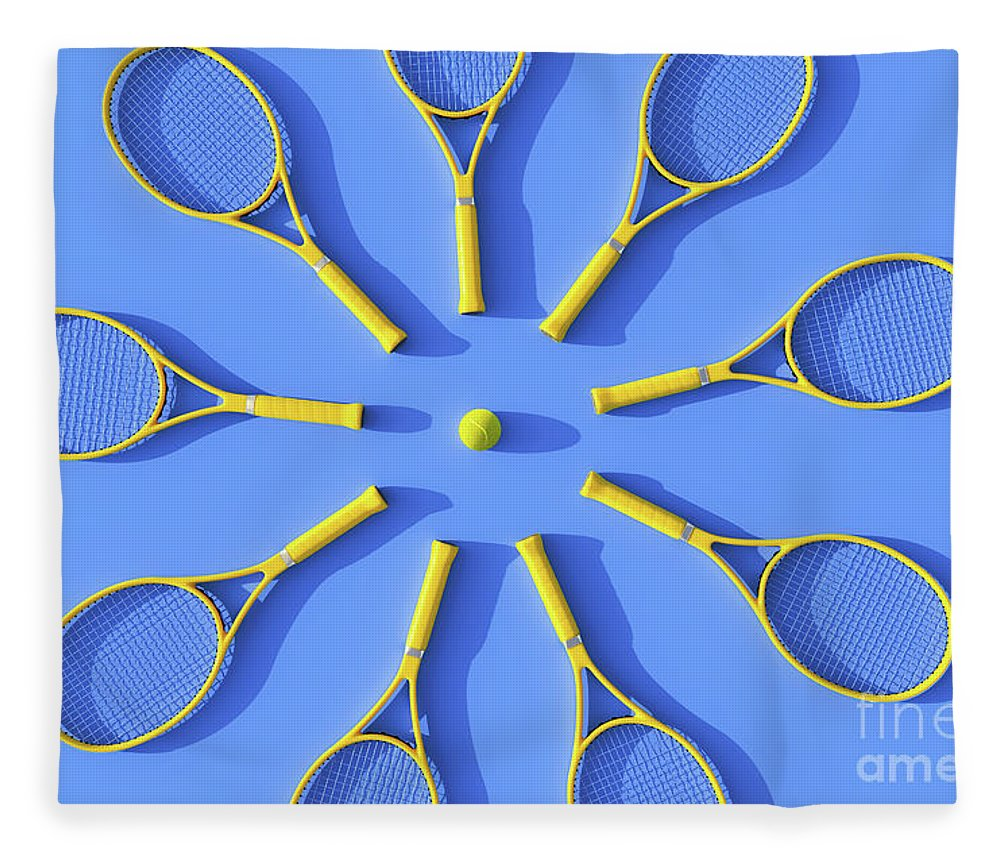 Shadow Fleece Blanket featuring the photograph Tennis Rackets On Court by Andriy Onufriyenko