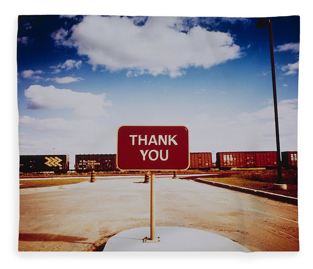 Thank You Fleece Blanket featuring the photograph Thank You Sign by Silvia Otte