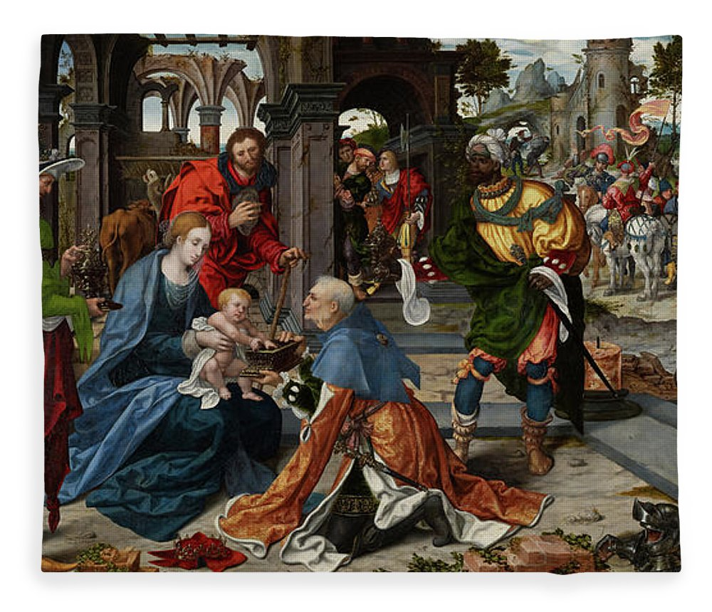 Adoration Fleece Blanket featuring the painting The Adoration Of The Magi With Donor by Noel Bellemare