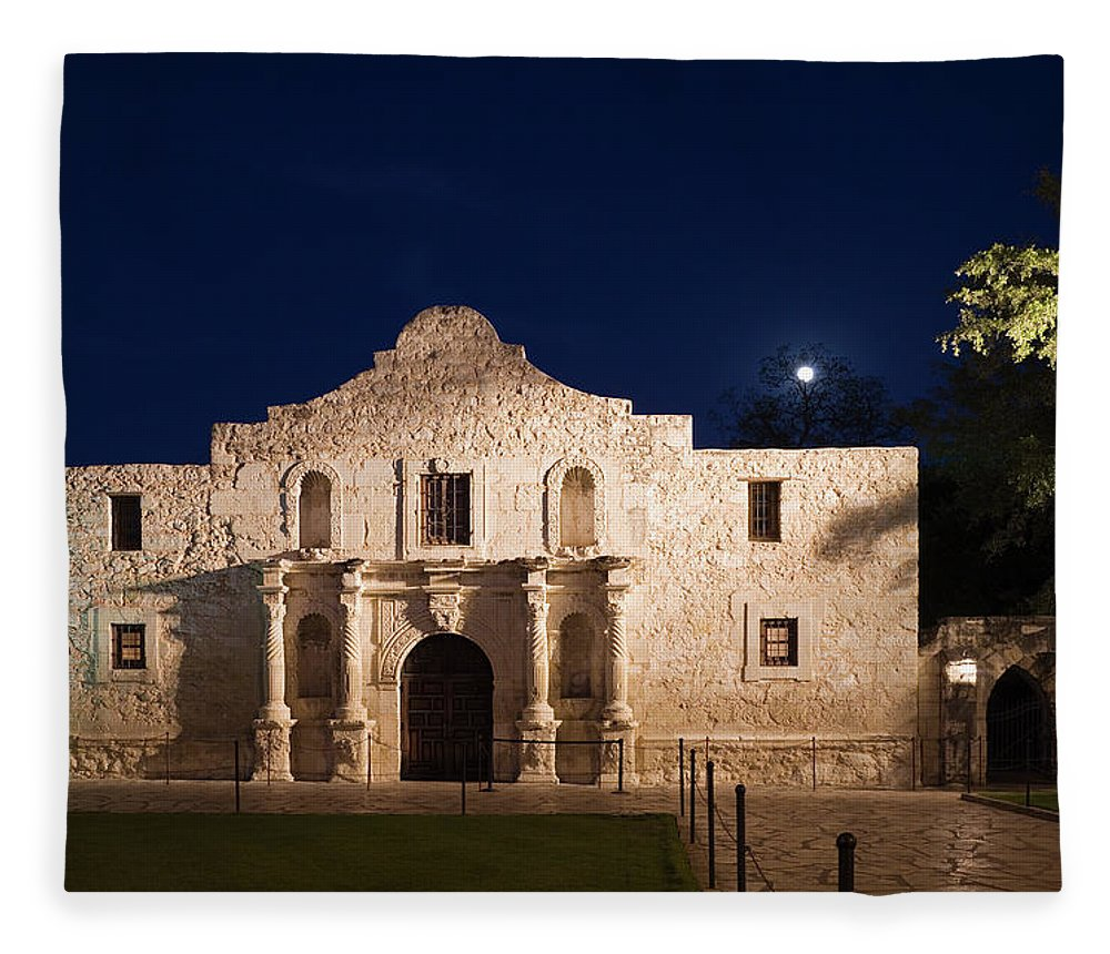 Outdoors Fleece Blanket featuring the photograph The Alamo, San Antonio Texas With Full by Dhughes9