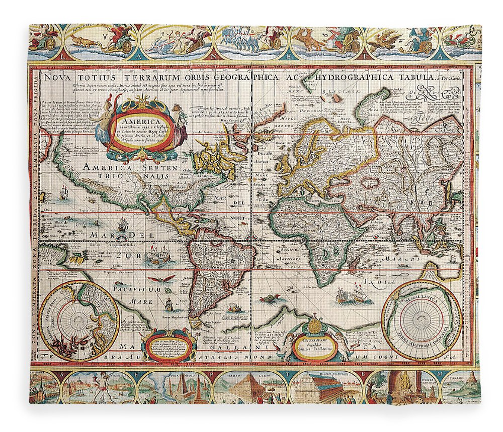 Color Image Fleece Blanket featuring the digital art The Americas by The Map House Of London