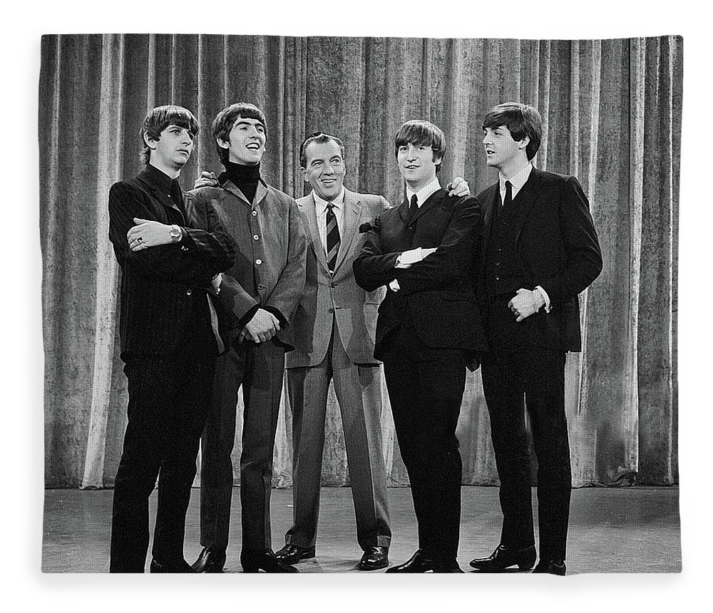 The Beatles Fleece Blanket featuring the photograph the beatles and ed sullivan - February, 1964 by Mountain Dreams