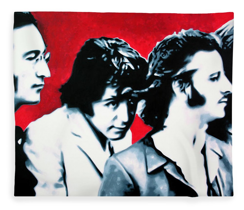 The Beatles Fleece Blanket featuring the painting The Beatles by Luis Ludzska Hood