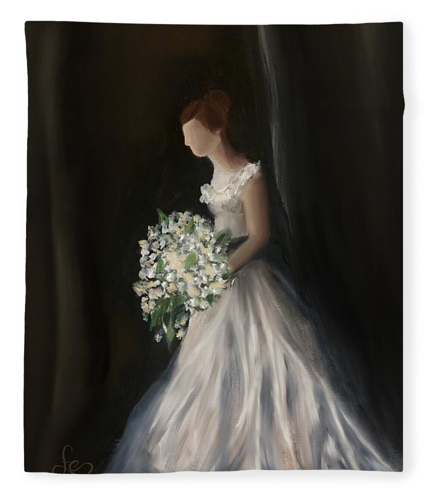 Fleece Blanket featuring the painting The Big Day by Fe Jones