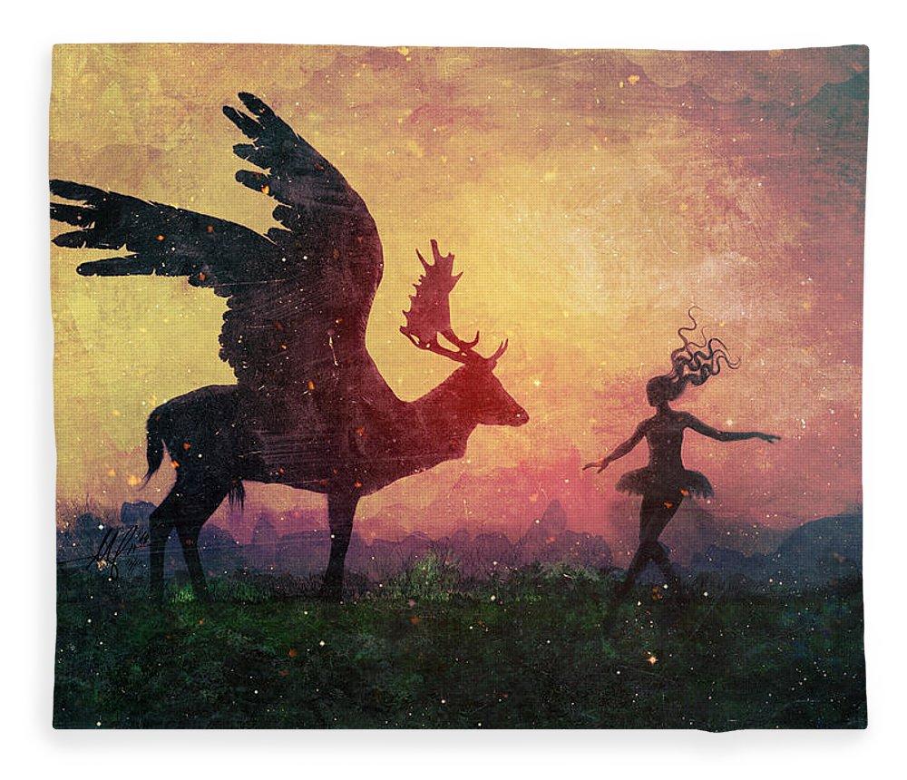 Surreal Fleece Blanket featuring the digital art The Dancers by Mario Sanchez Nevado
