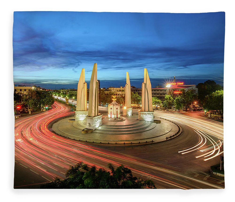 Built Structure Fleece Blanket featuring the photograph The Democracy Monument by Thanapol Marattana