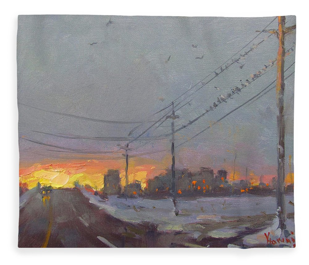 Gray Day Fleece Blanket featuring the painting The End Of A Gray Day by Ylli Haruni
