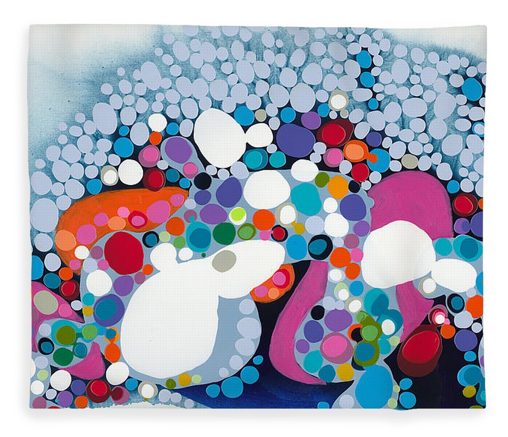 Abstract Fleece Blanket featuring the painting The Fantasy Of Reality by Claire Desjardins