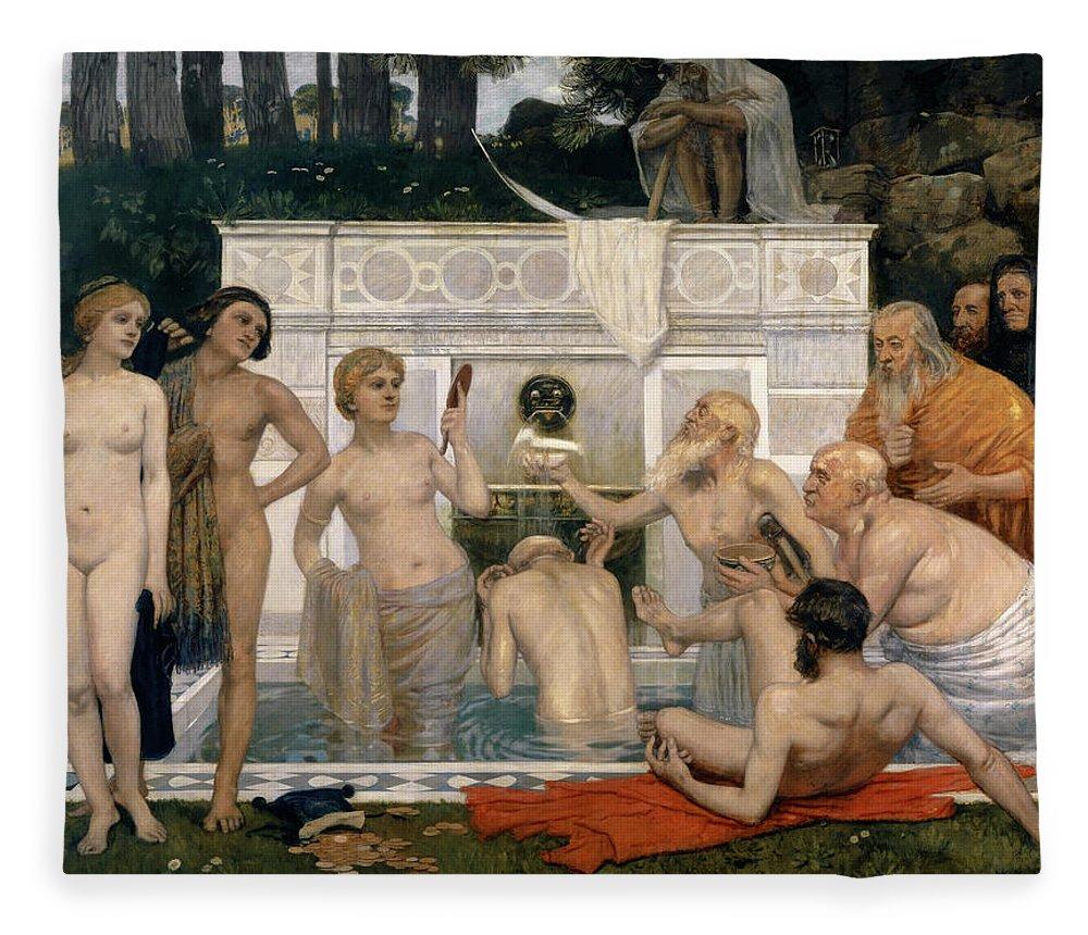 Hans Sandreuter Fleece Blanket featuring the painting The Fountain Of Youth by Hans Sandreuter