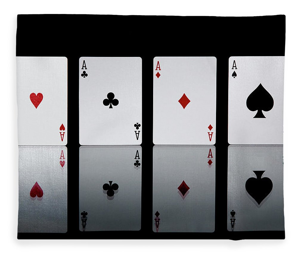 Risk Fleece Blanket featuring the photograph The Four Aces From A Pack Of Playing by Sasha Weleber