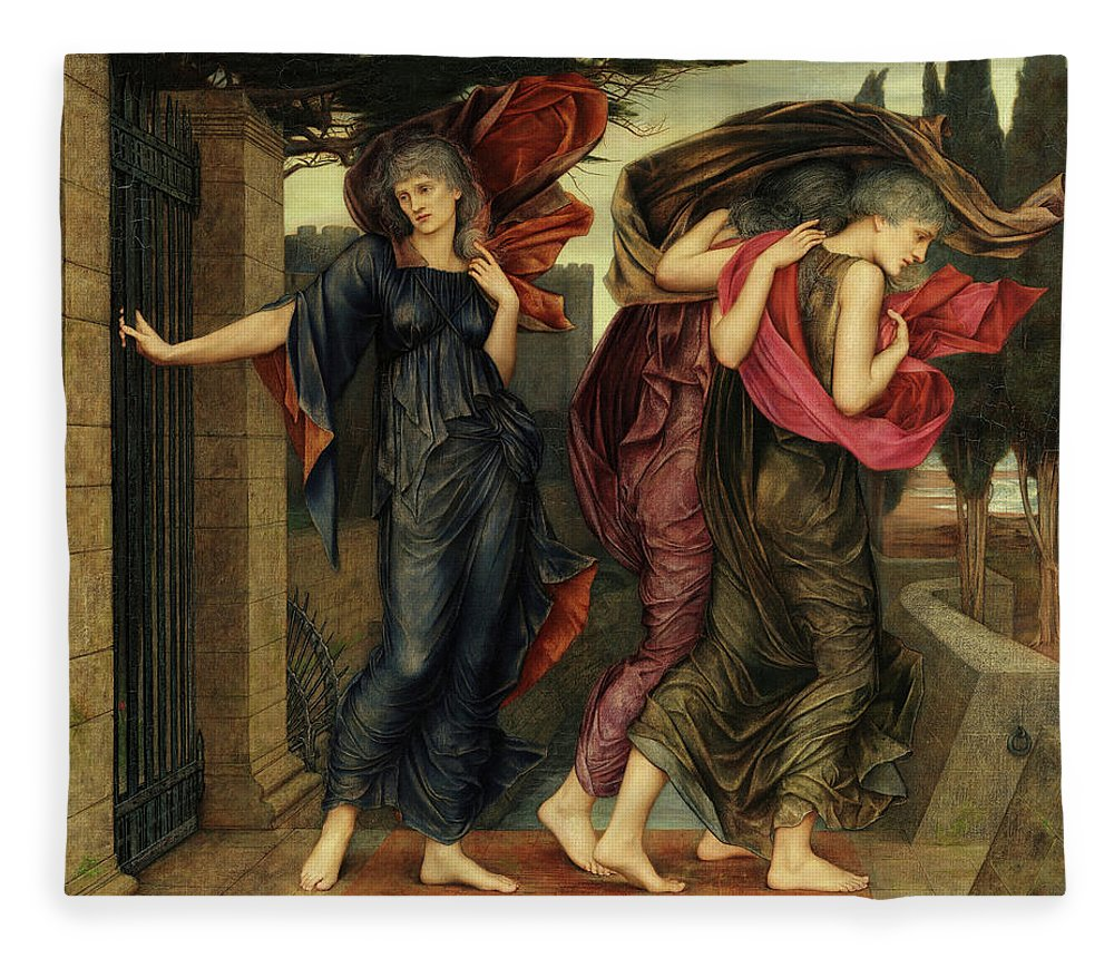 Evelyn De Morgan Fleece Blanket featuring the painting The Grey Sisters, Phantoms, 1881 by Evelyn De Morgan