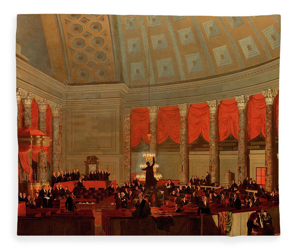 Painting Fleece Blanket featuring the painting The House Of Representatives, 1822 by Samuel Finley Breese Morse