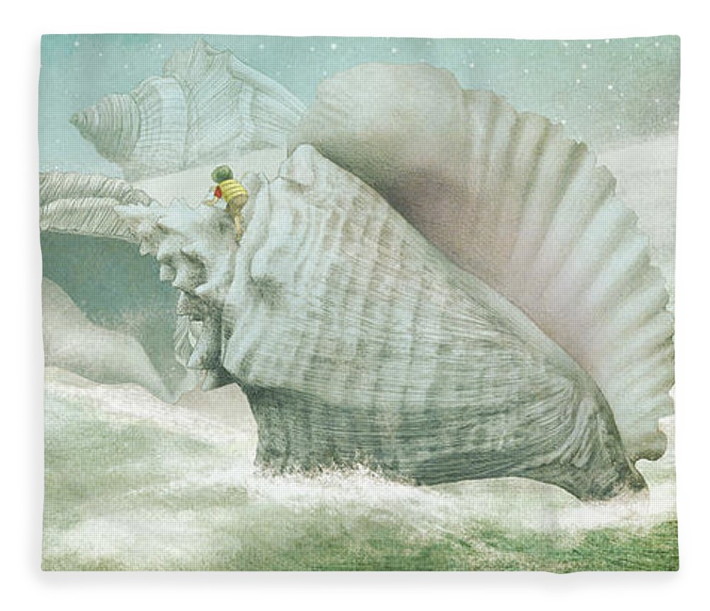 Shells Fleece Blanket featuring the drawing The Island Of Giant Shells by Eric Fan