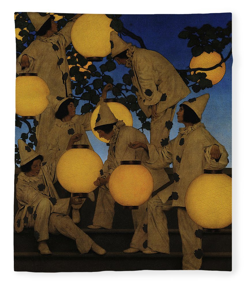 Maxfield Parrish Fleece Blanket featuring the painting Lantern Bearers by Maxfield Parrish