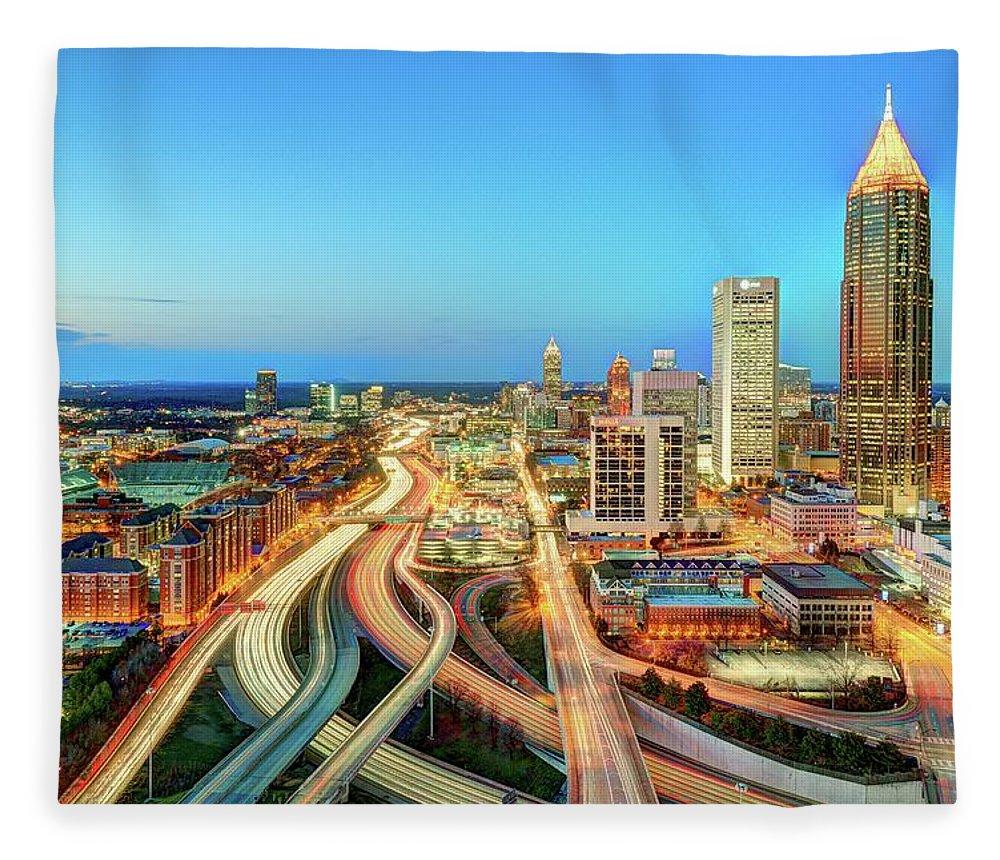Atlanta Fleece Blanket featuring the photograph The Lifeblood Of Atlanta by Photography By Steve Kelley Aka Mudpig