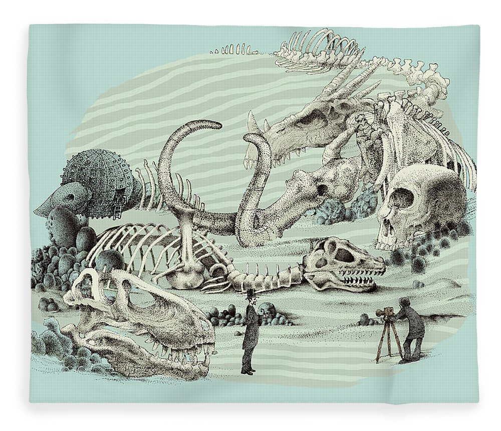 Vintage Fleece Blanket featuring the drawing The Lost Beach by Eric Fan