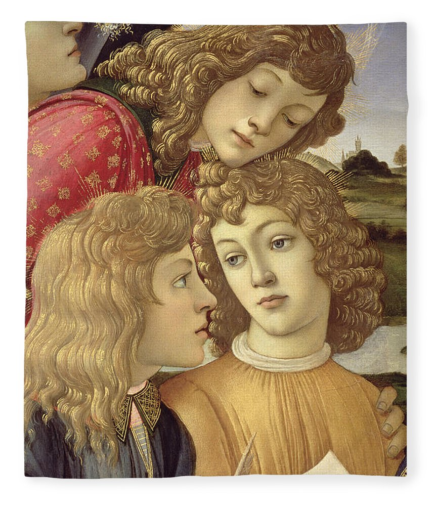 Sandro Botticelli Fleece Blanket featuring the painting The Madonna Of The Magnificat, Detail Of Three Boys, 1482 by Sandro Botticelli