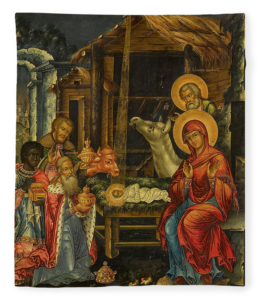 The Nativity Fleece Blanket featuring the painting The Nativity, Russia, 1848 by Russian Art