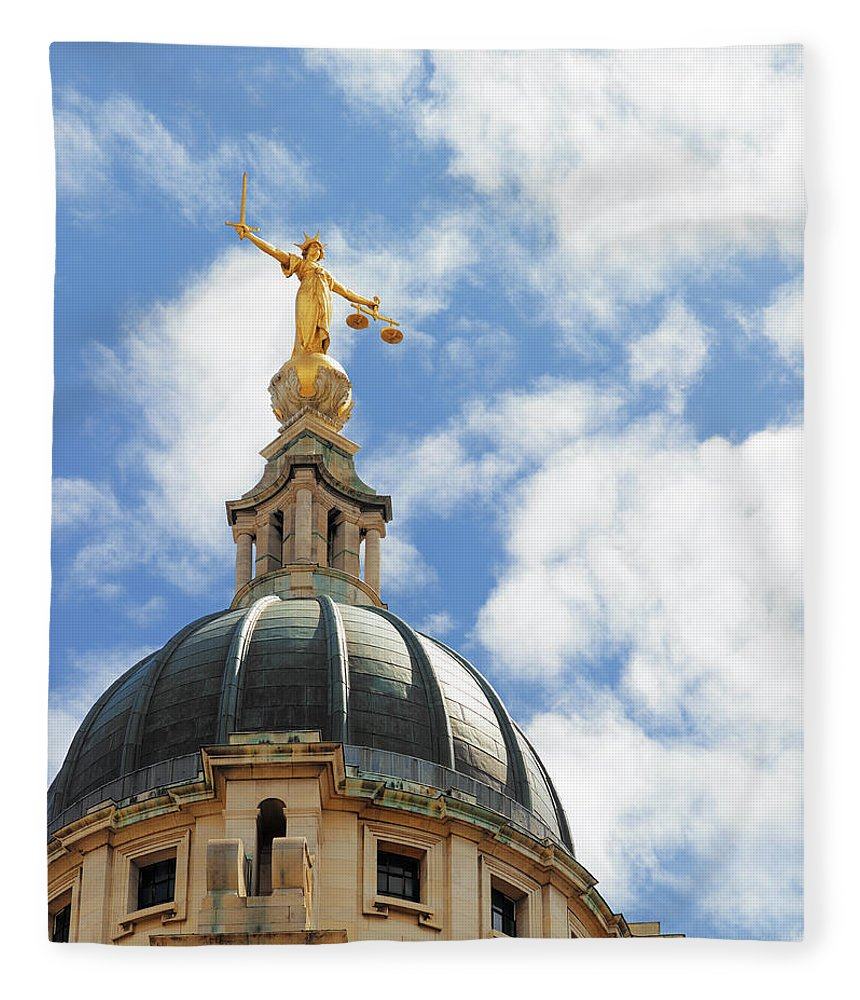 Statue Fleece Blanket featuring the photograph The Old Bailey, Central Criminal Court by Peter Dazeley