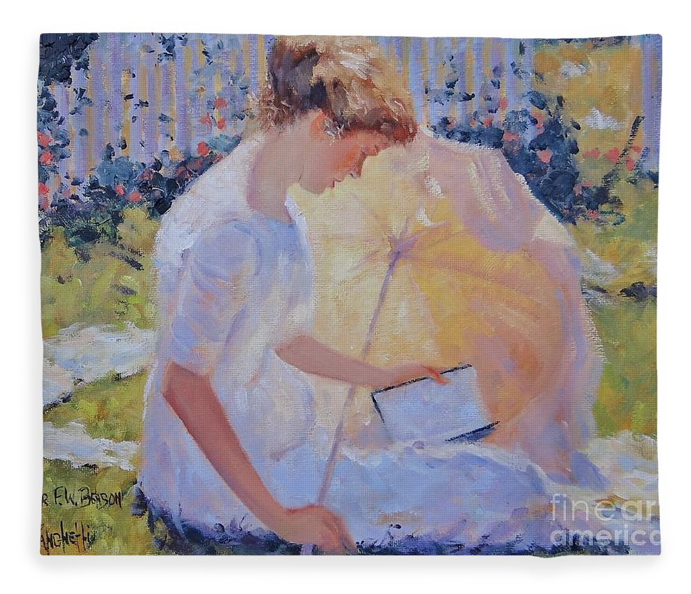 Frank W. Benson Fleece Blanket featuring the painting The Reader by Laura Lee Zanghetti