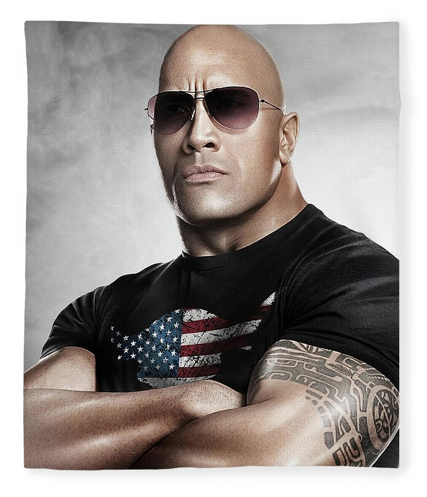 The Rock Fleece Blanket featuring the photograph The Rock Dwayne Johnson I I by Movie Poster Prints