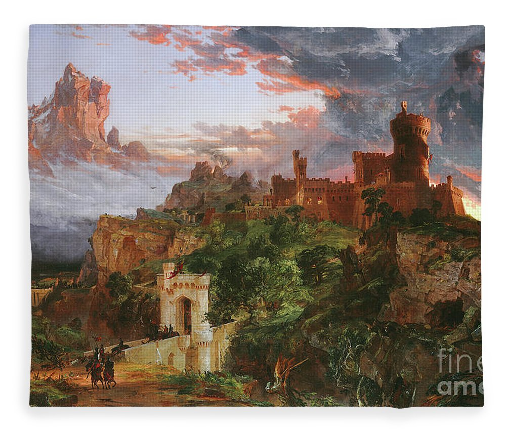 The Sprit Of War Fleece Blanket featuring the painting The Sprit Of War, 1851 by Jasper Francis Cropsey