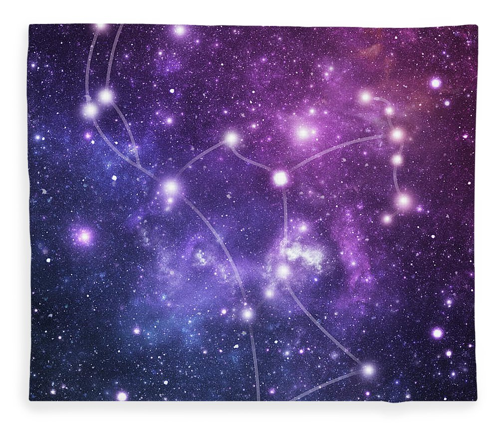 Black Color Fleece Blanket featuring the photograph The Stars Constellation Of Orion by Sololos