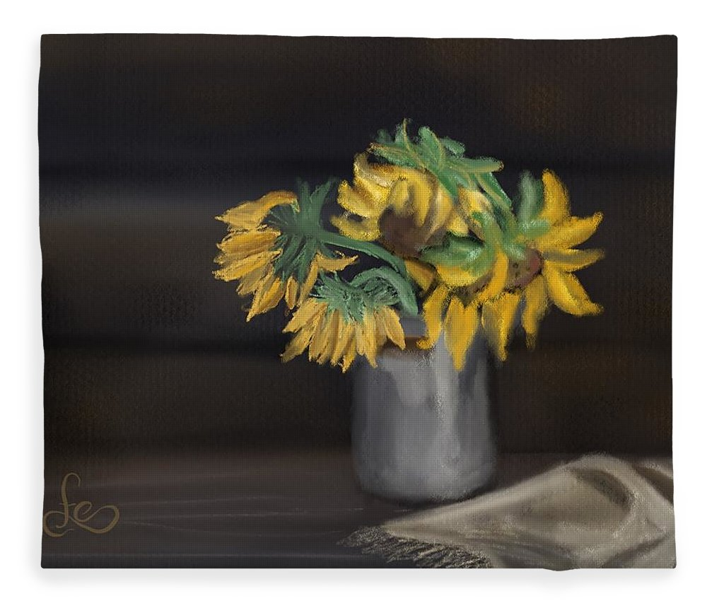 Fleece Blanket featuring the painting The Sun Flowers by Fe Jones