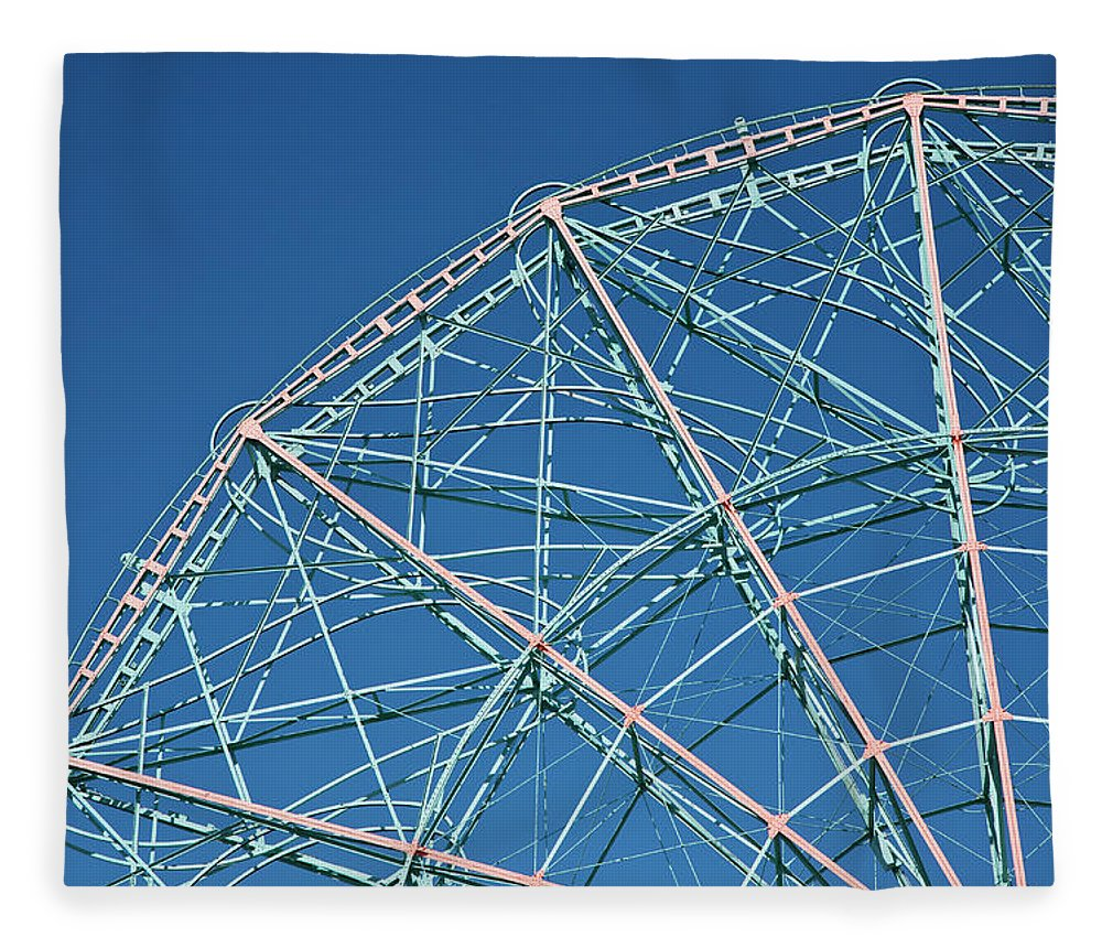 Built Structure Fleece Blanket featuring the photograph The Top Of A Ferris Wheel, Low Angle by Frederick Bass