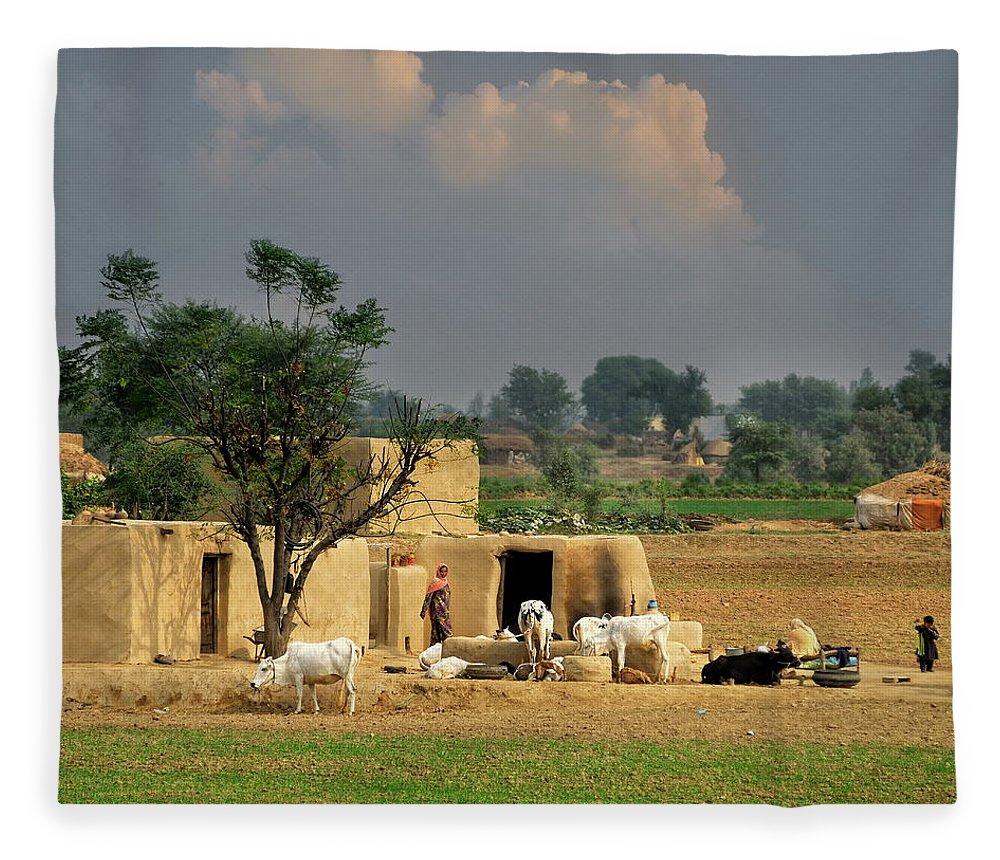 Grass Fleece Blanket featuring the photograph The Village Of Punjab by Nadeem Khawar