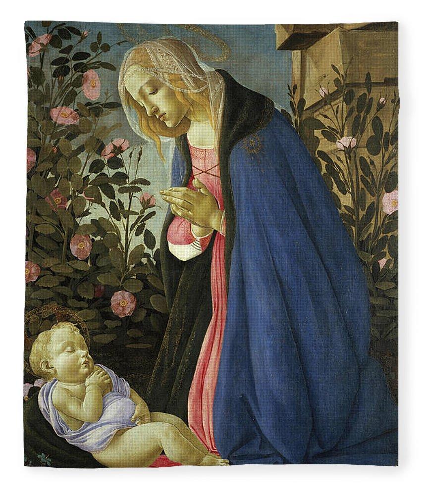 Sandro Botticelli Fleece Blanket featuring the painting The Virgin Adoring The Sleeping Christ Child by Sandro Botticelli