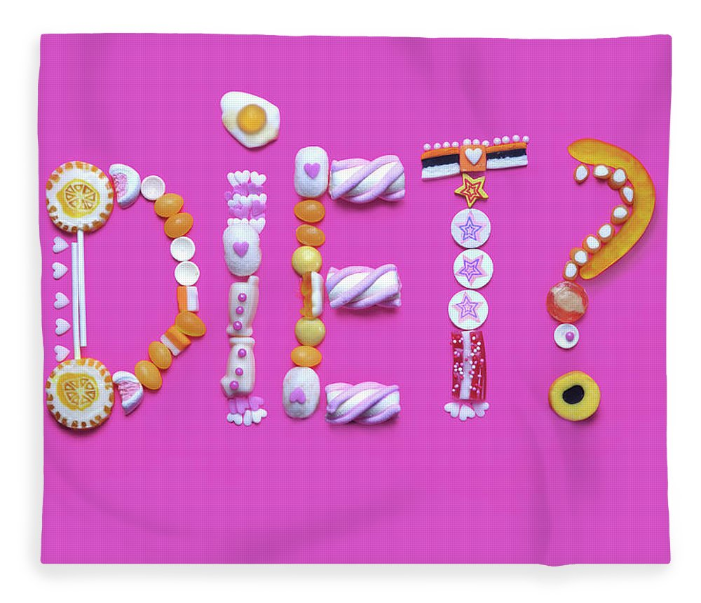 Large Group Of Objects Fleece Blanket featuring the photograph The Word Diet Written From Gummy Candy by Paper Boat Creative