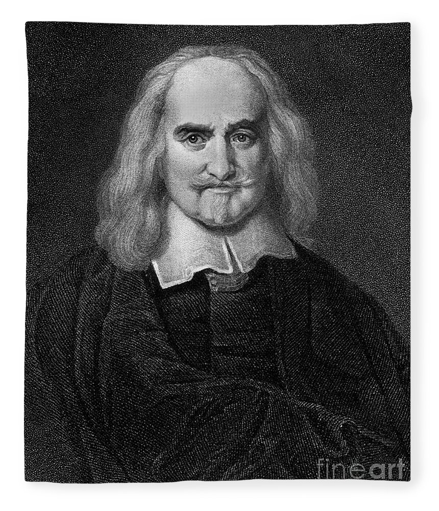 Historical Fleece Blanket featuring the drawing Thomas Hobbes English Philosopher, Engraving by European School