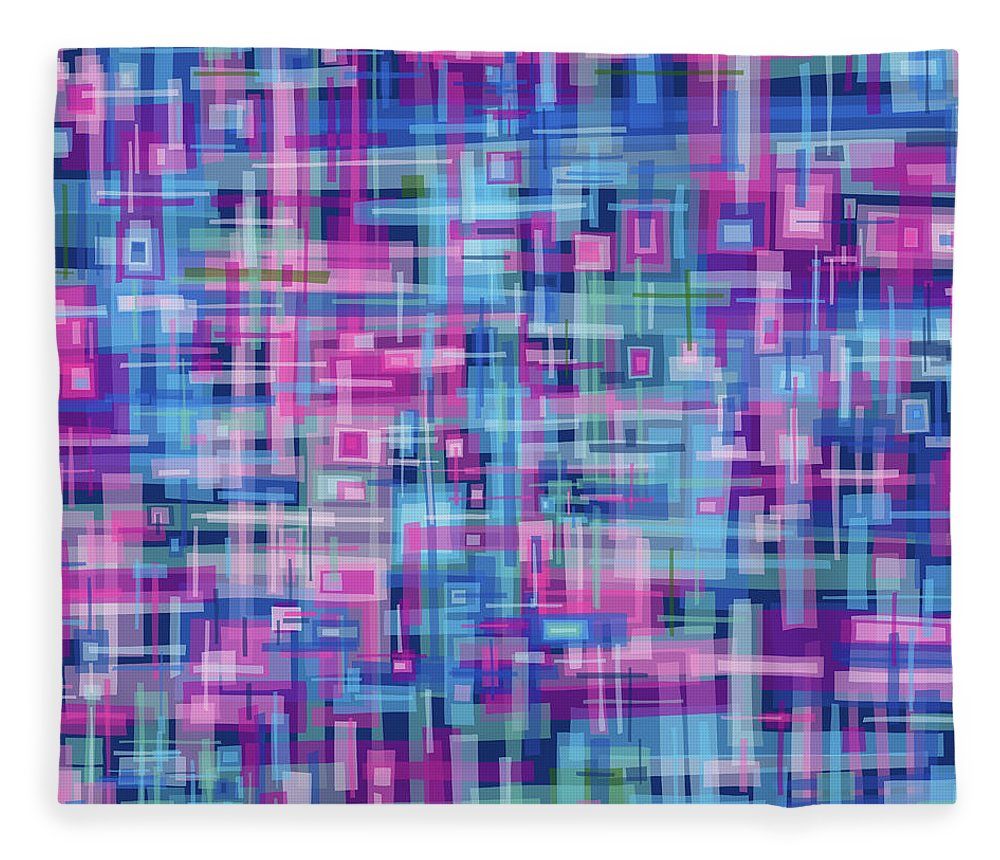 Nonobjective Fleece Blanket featuring the digital art Thought Patterns #4 by James Fryer