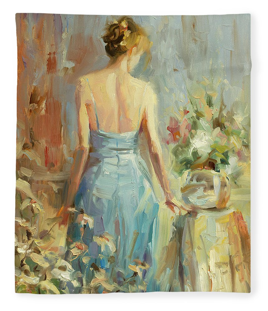 Woman Fleece Blanket featuring the painting Thoughtful by Steve Henderson