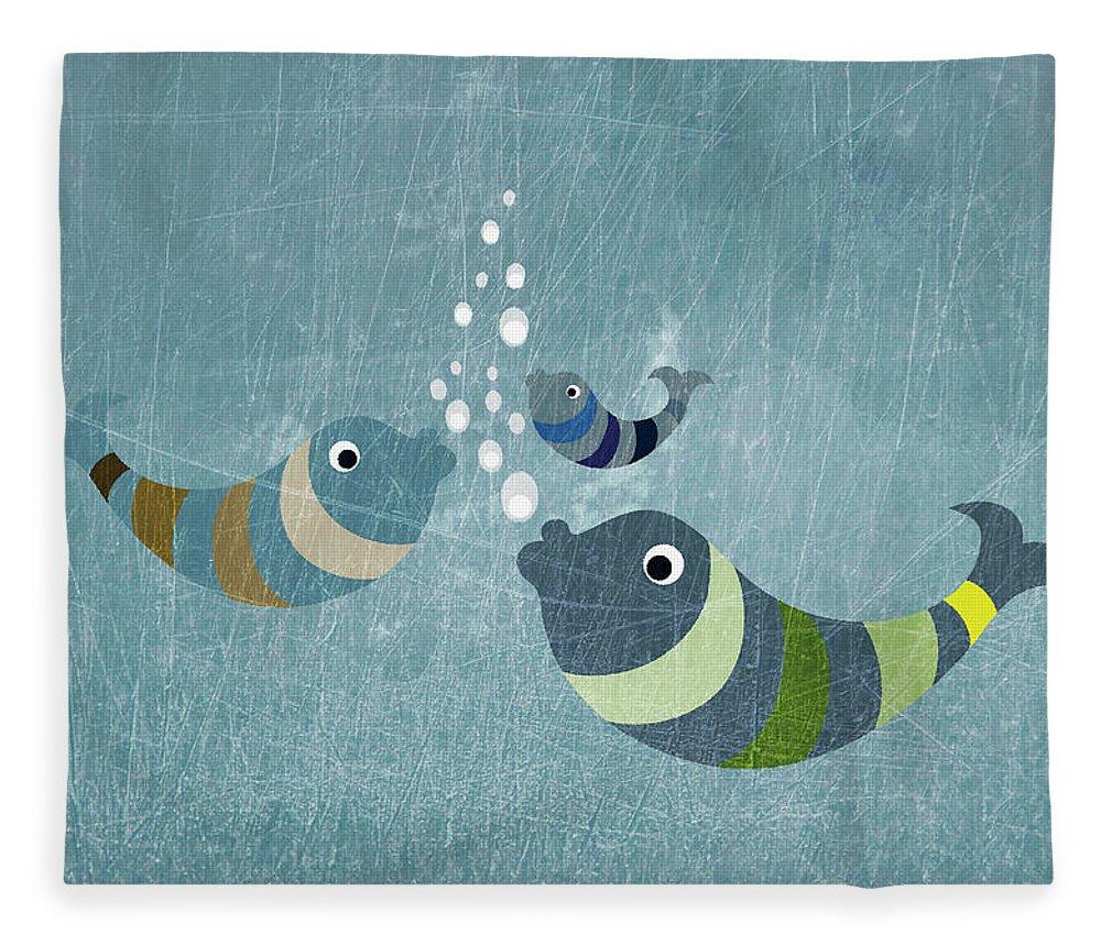 Underwater Fleece Blanket featuring the digital art Three Fish In Water by Fstop Images - Jutta Kuss