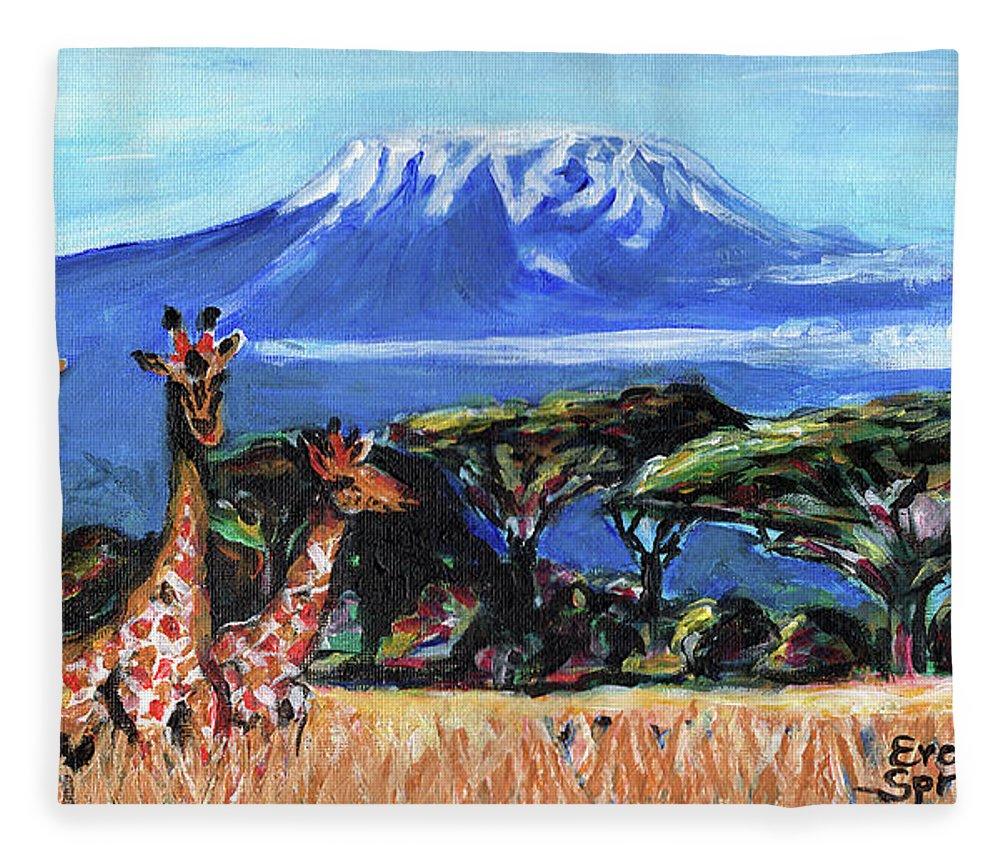 Everett Spruill Fleece Blanket featuring the painting Three Giraffes by Everett Spruill