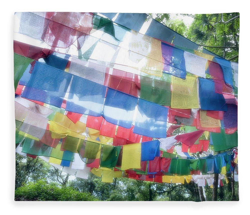 Hanging Fleece Blanket featuring the photograph Tibetan Buddhist Prayer Flags by Glen Allison