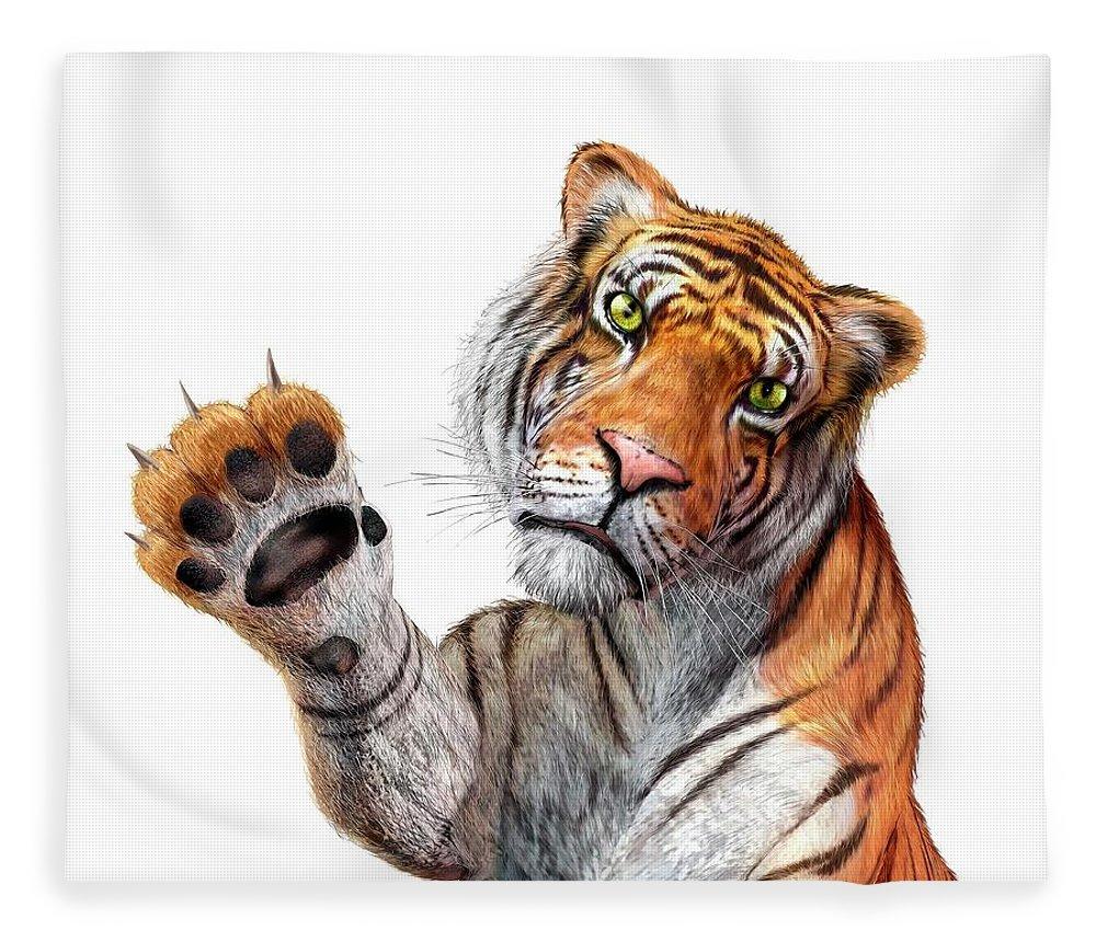 White Background Fleece Blanket featuring the digital art Tiger, Artwork by Leonello Calvetti