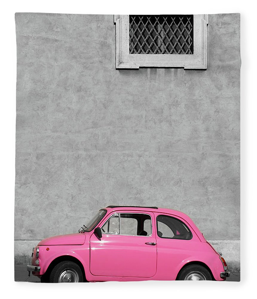 Sparse Fleece Blanket featuring the photograph Tiny Pink Vintage Car, Rome Italy by Romaoslo