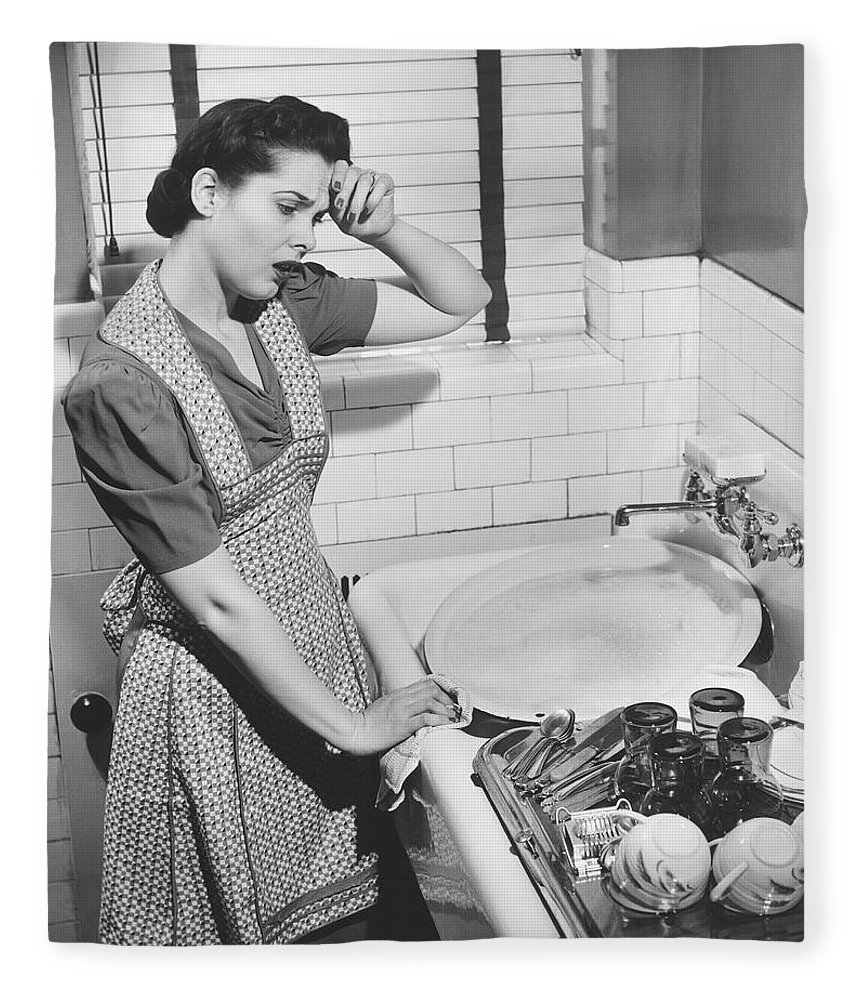 Three Quarter Length Fleece Blanket featuring the photograph Tired Woman At Kitchen Sink, B&w by George Marks
