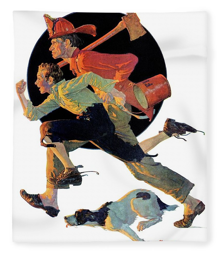 Boy Fleece Blanket featuring the drawing to The Rescue by Norman Rockwell