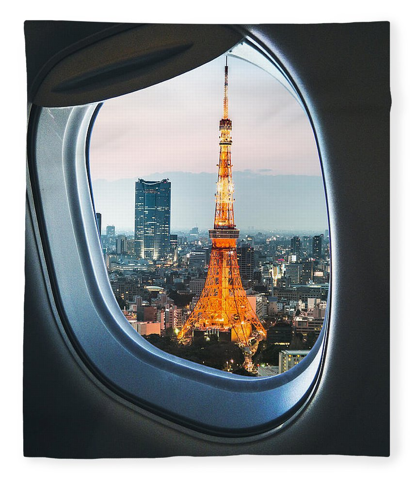 Tokyo Tower Fleece Blanket featuring the photograph Tokyo Skyline With The Tokyo Tower by Franckreporter