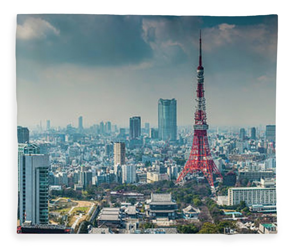 Tokyo Tower Fleece Blanket featuring the photograph Tokyo Tower Futuristic Skyscraper by Fotovoyager