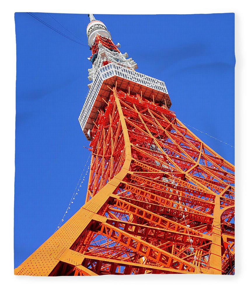 Tokyo Tower Fleece Blanket featuring the photograph Tokyo Tower by Ngkaki
