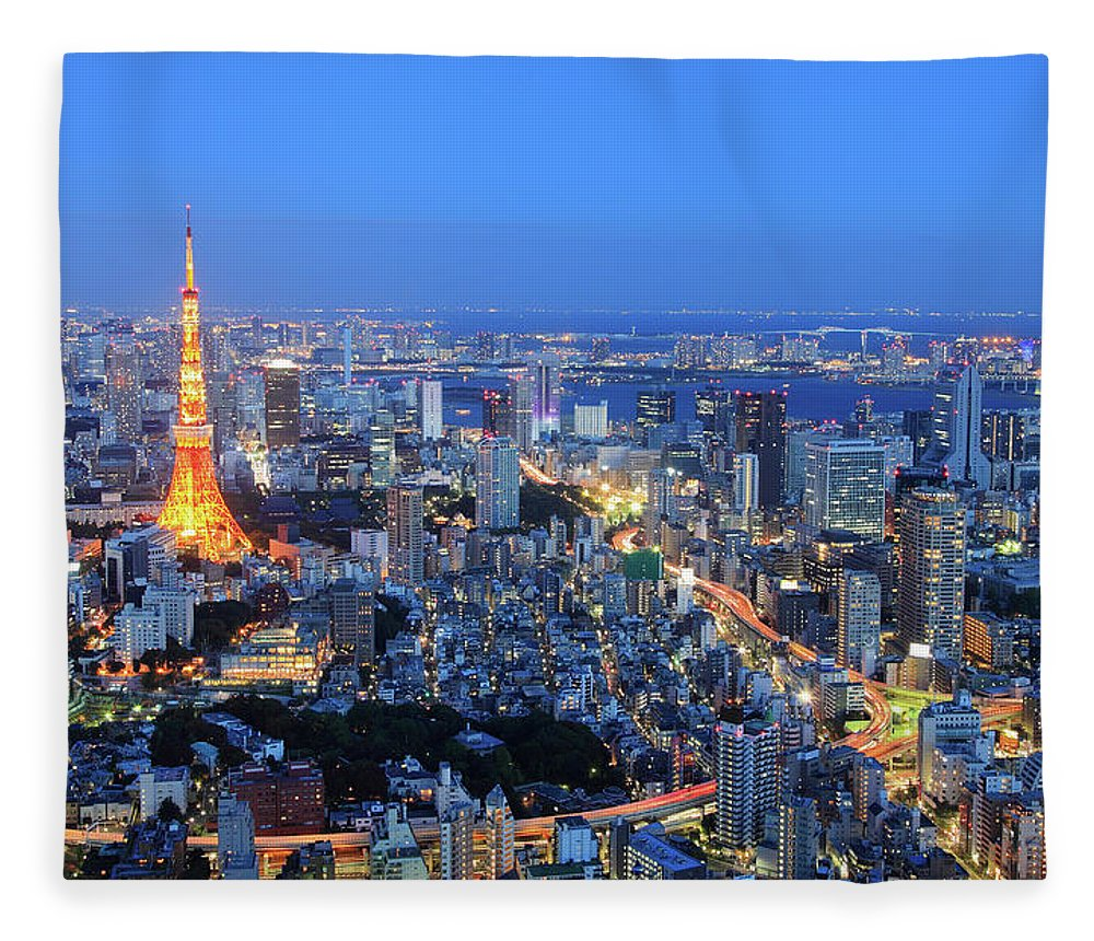 Tokyo Tower Fleece Blanket featuring the photograph Tokyo Tower View From Mori Tower by Krzysztof Baranowski
