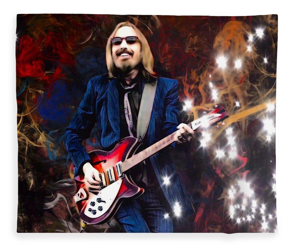 Tom Petty Fleece Blanket featuring the digital art Tom Petty Portrait by Scott Wallace Digital Designs