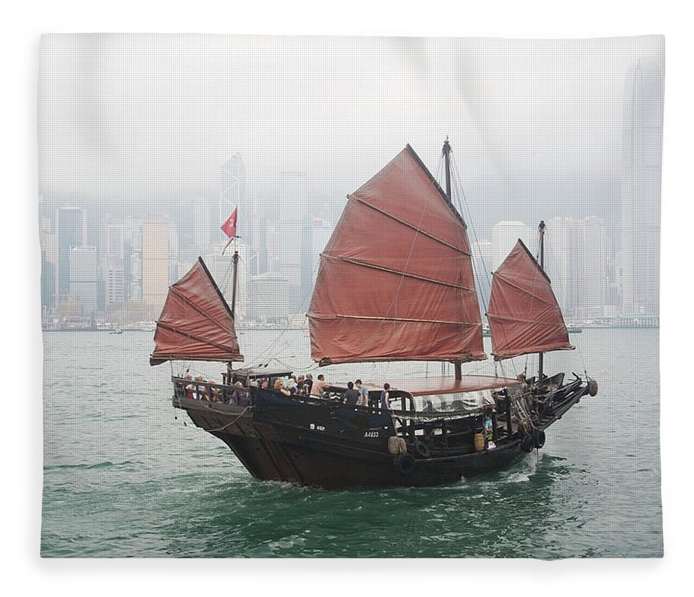Outdoors Fleece Blanket featuring the photograph Tourist Junk On Cruise by Romana Chapman