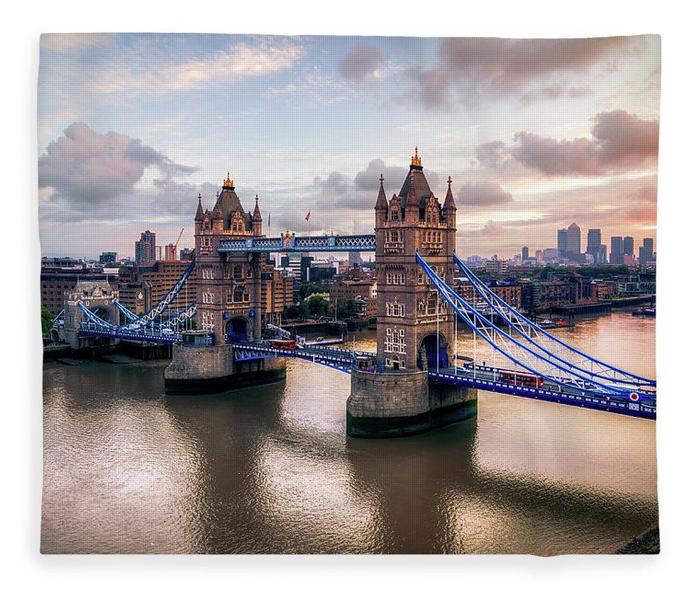 England Fleece Blanket featuring the photograph Tower Bridge Taken From City Hall by Joe Daniel Price